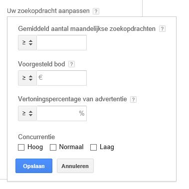 4 zoekwoordfilters