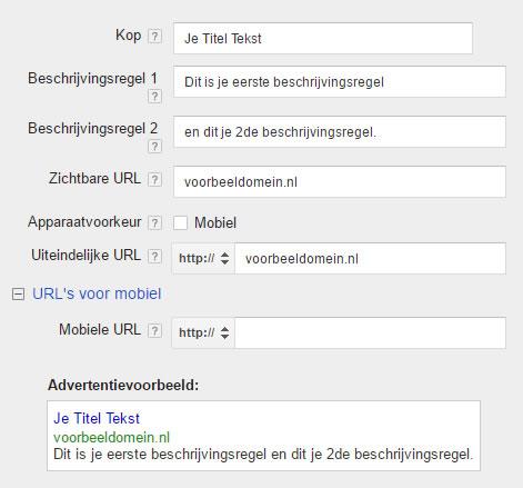 Adwords advertentie maken