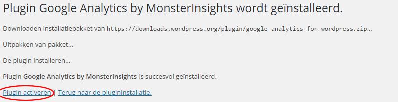 google analytics monsterinsights-activeren