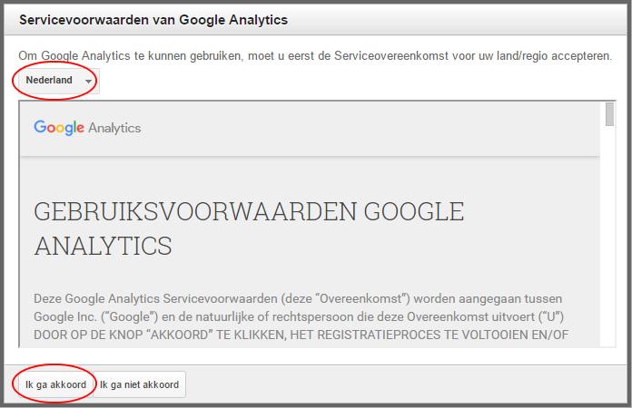 google analytics voorwaarden