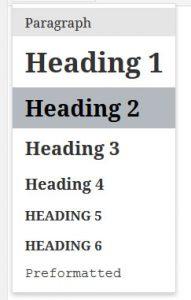headings wordpress