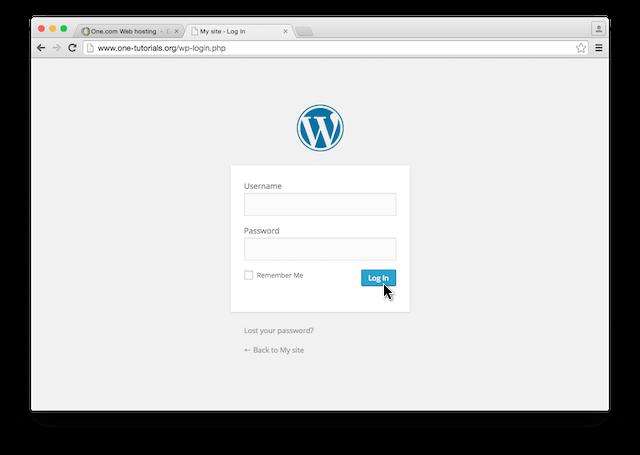 wordpress inloggen scherm